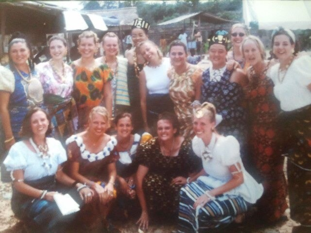Returning to Cote d'Ivoire brought Manya Dotson back to her Peace Corps volunteer experience in a rural Ivorian maternity clinic. Manya is pictured here, the second to the left in the bottom row