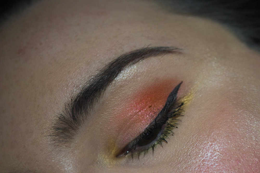 """This is a mix of the Natura palette using SOLE (golden),FUOCO (burnt orange) &FOGLIA (green) and a base of """"Bunny Nose"""" from the Natural Love Palette"""
