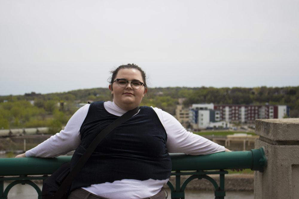 """I went downtown today and the view is always so gorgeous in St Paul, I love going down there! also notice my """"handmade shirt"""", I got a velvet dress from the thrift store and just cut it but clearly I didn't cut it symmetrical,,"""