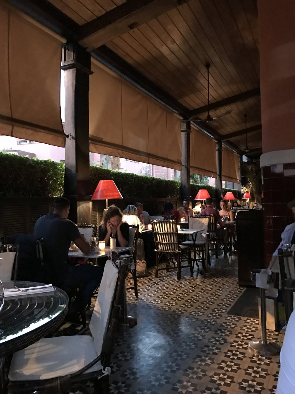 The Grande Cafe de la Poste - Like something from a movie, this historic building brings old world French style (read;cafe chairs, double staircases, deep rich wood ceilings, classic jazz)with the classic Moroccan food and feel.