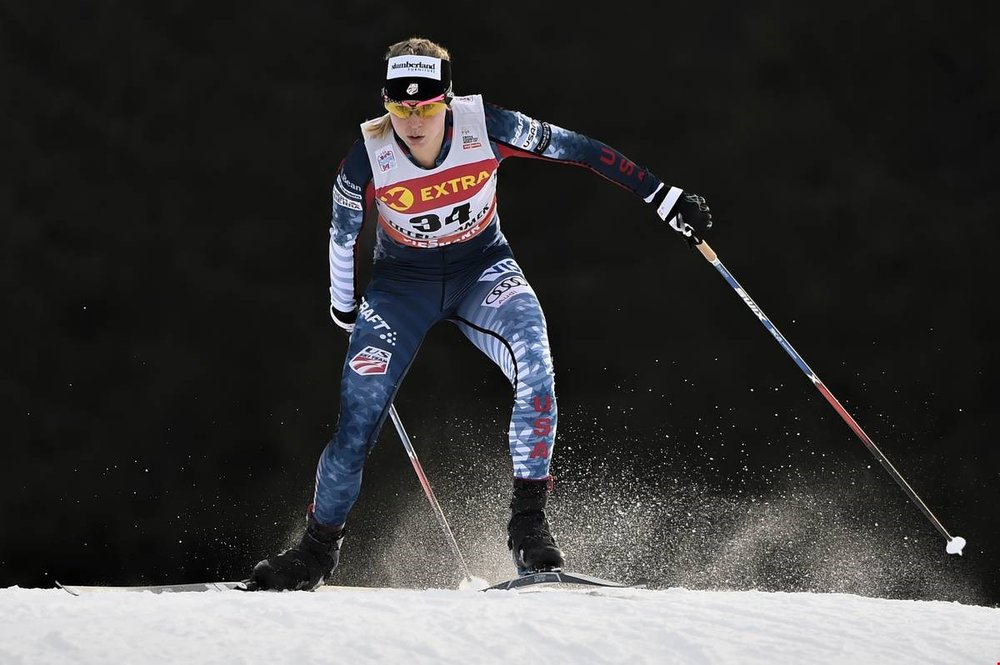 American Jessie Diggins now owns two individual World Cup victories Photo: Nordic Focus | Salomon.