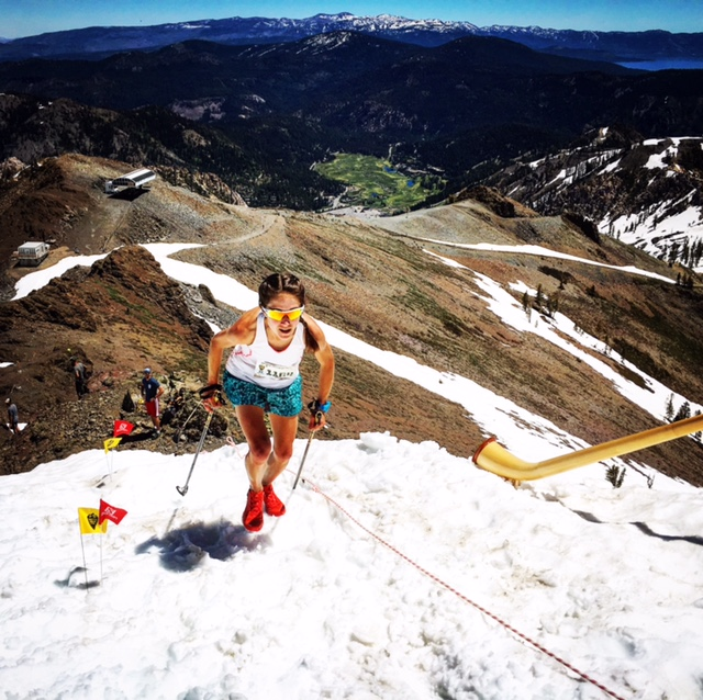 Morgan Arritola digs deep on the final ascent to Squaw Peak. Photo courtesy of Salomon.