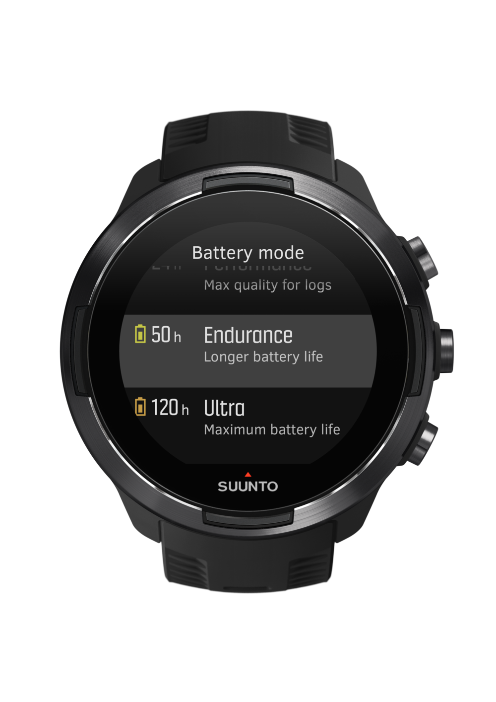 SS050019000 - SUUNTO9 - GEN1  BARO Black - Front View_TR-Options-batterymode.png