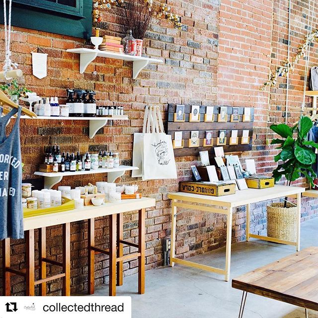 I spy @homespunok all purpose cleaner amongst Collected Thread's beautiful store!  Have you been by to see her collection of handmade and local goodies? ❤️🌿 |||||#Repost @collectedthread (@get_repost) ・・・ Open this glorious Sunday from 10-2! Come see us and check out our big sale!!! Pic by the oh so talented @elyfair