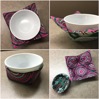 Bowl Cozies - Quick and Easy project, and a great way to protect your hands from a hot bowl.
