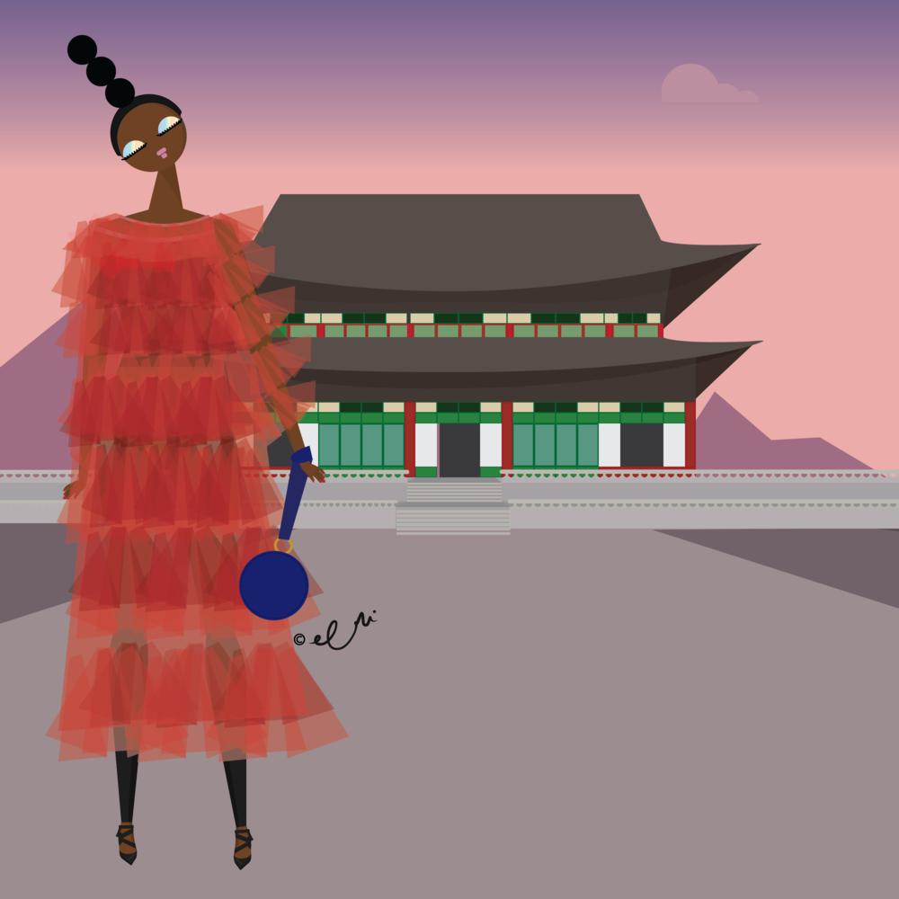 At the Gyeongbokgung Palace in Seoul wearing Molly Goddard.
