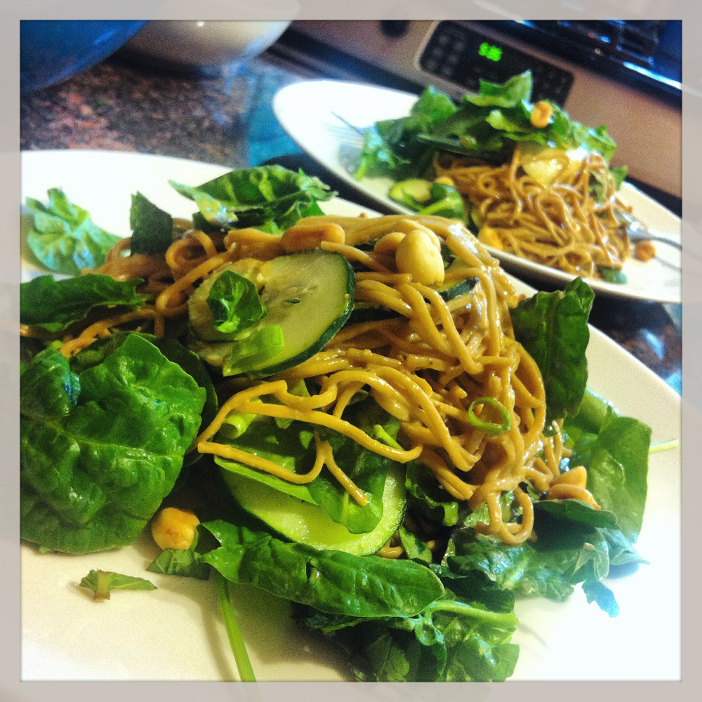 I grew my own mint for this Peanut Soba Noodle dish.