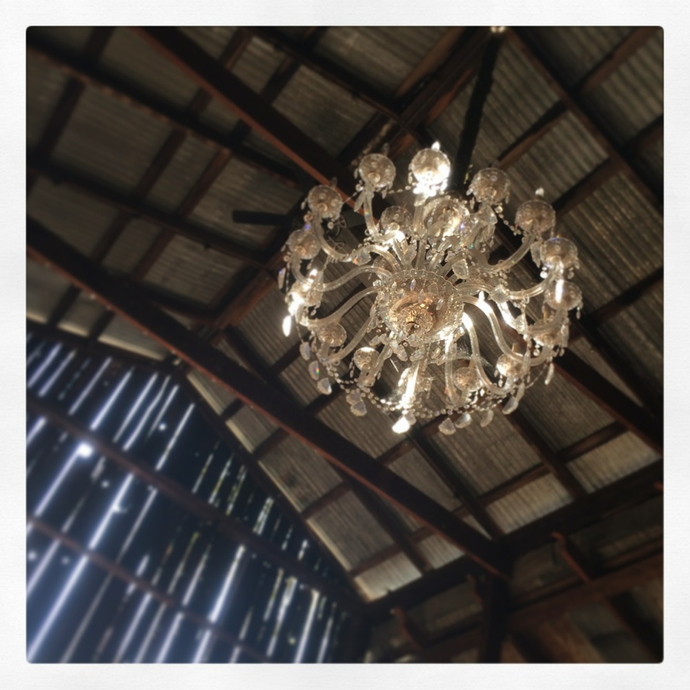 Chandelier in the barn at Soda Rock Winery, credit Kirsten Akens 2015