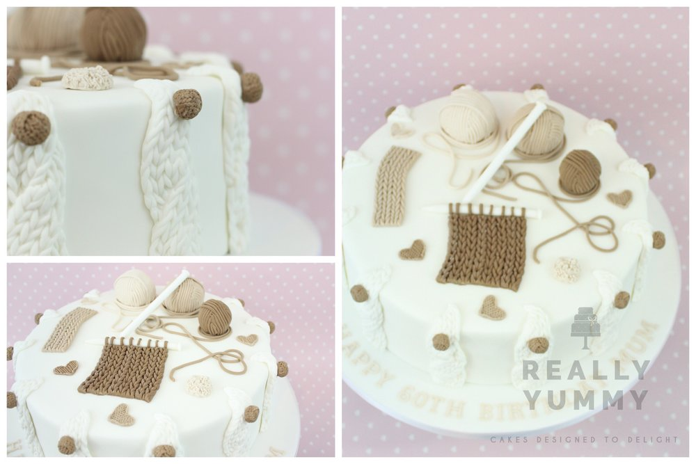 A gorgeous knitting cake, in neutrals