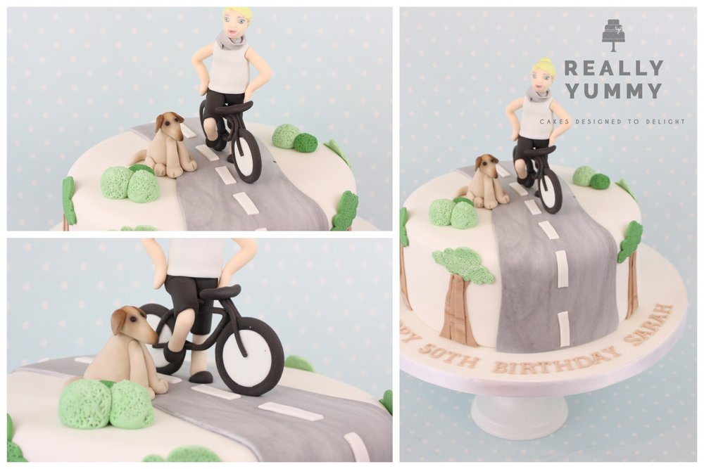 Cycling in the countryside with dog cake