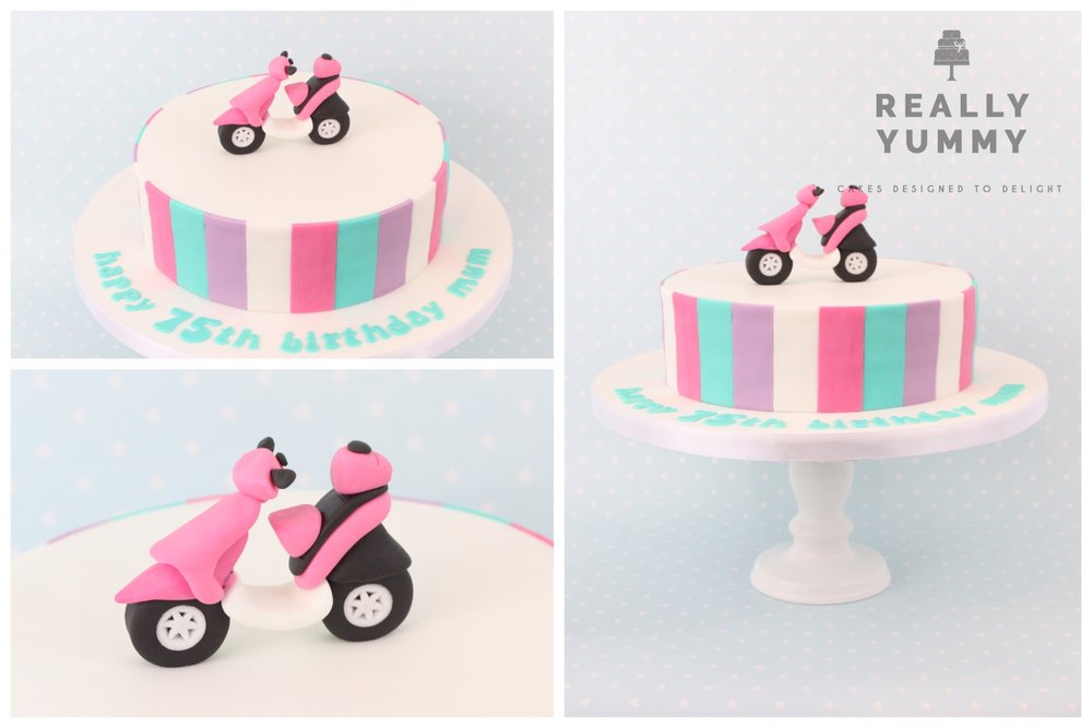 Pink moped cake