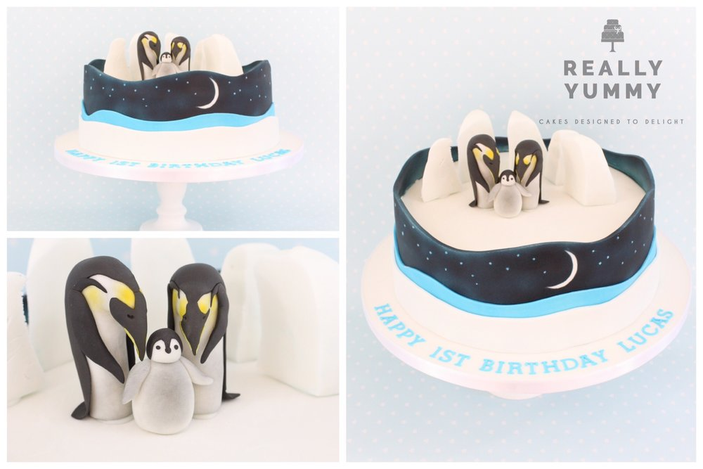 Penguin family cake