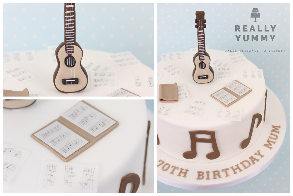 Ukulele and music cake