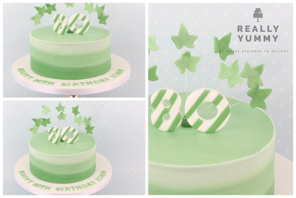 80th birthday cake, in greens