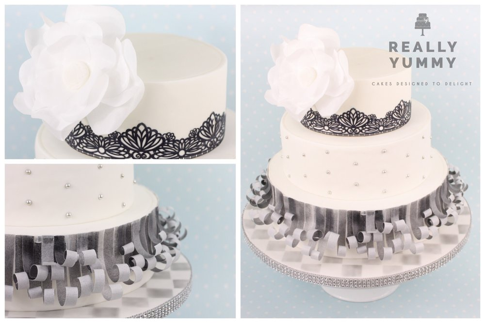 Monochrome cake with sparkle