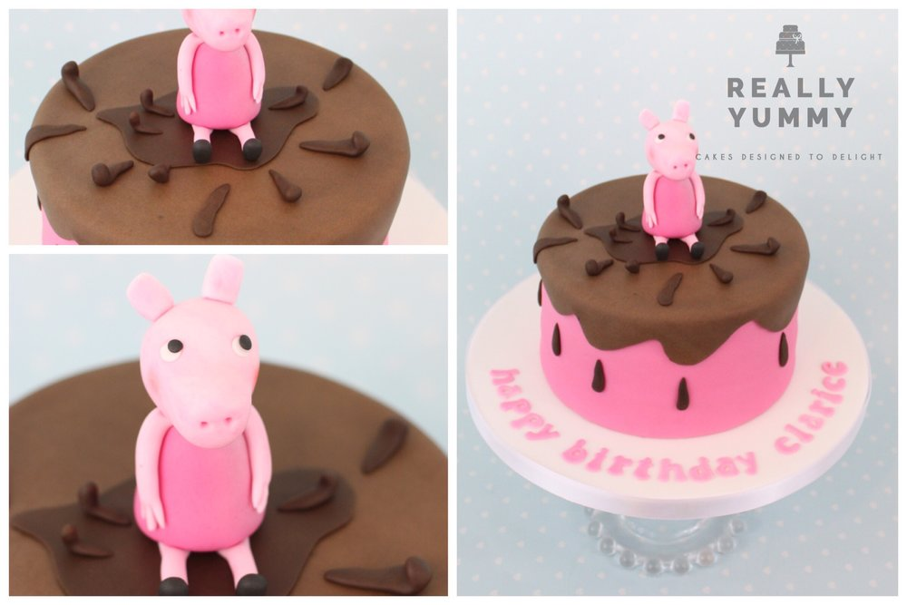 Peppa Pig cake with muddy puddle