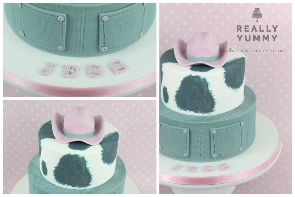 Cowgirl cake with cowhide