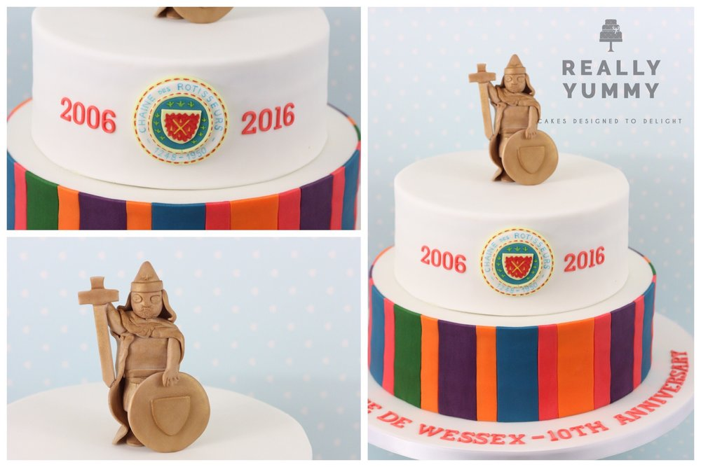 Fine dining celebration cake with King Alfred statue Winchester