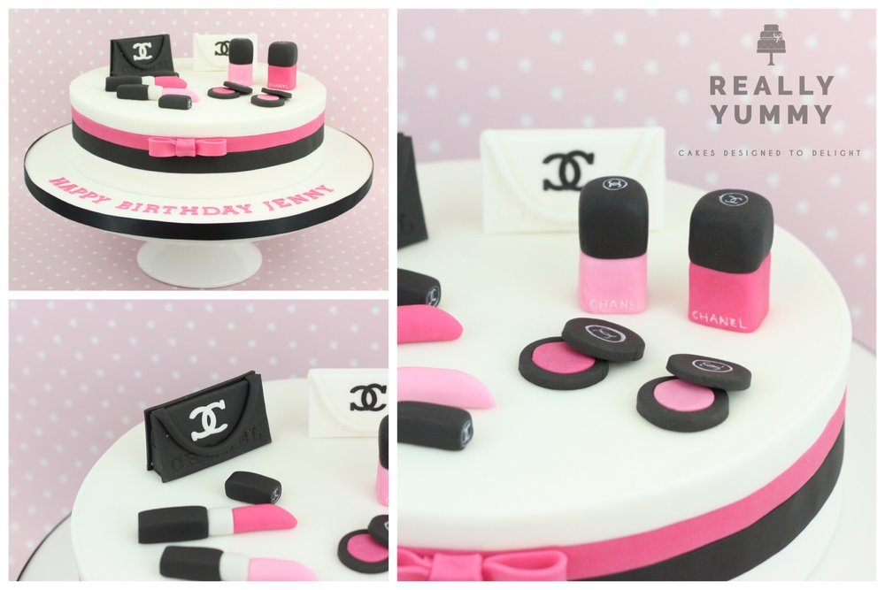 Chanel cake, in pink and black