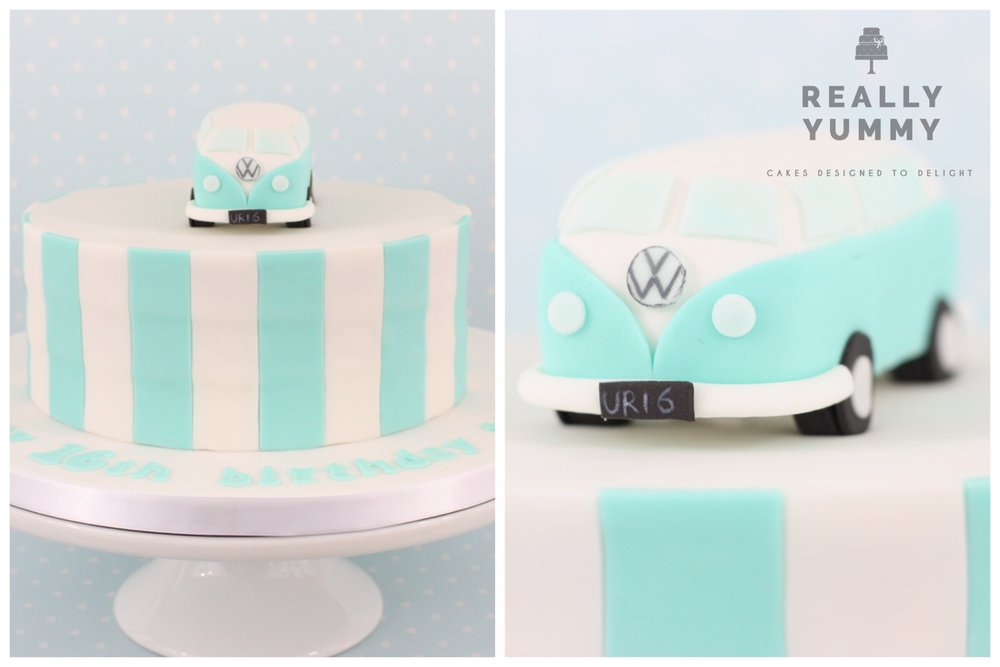 VW Camper van cake, with stripes