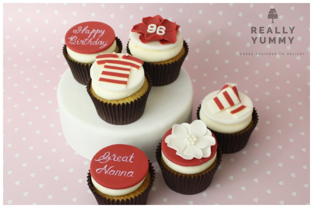 Football cupcakes in red and white