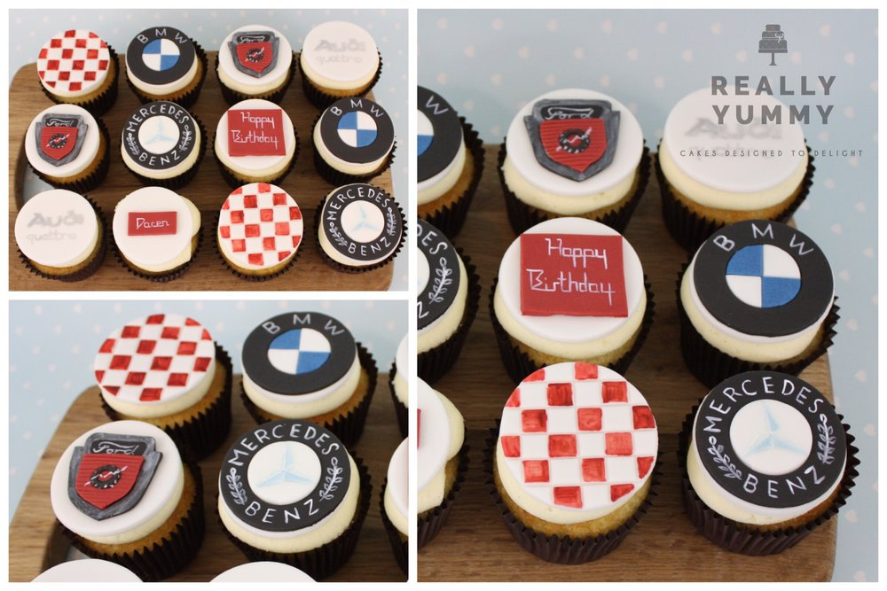 Classic car cupcakes with BMW and Mercedes logos