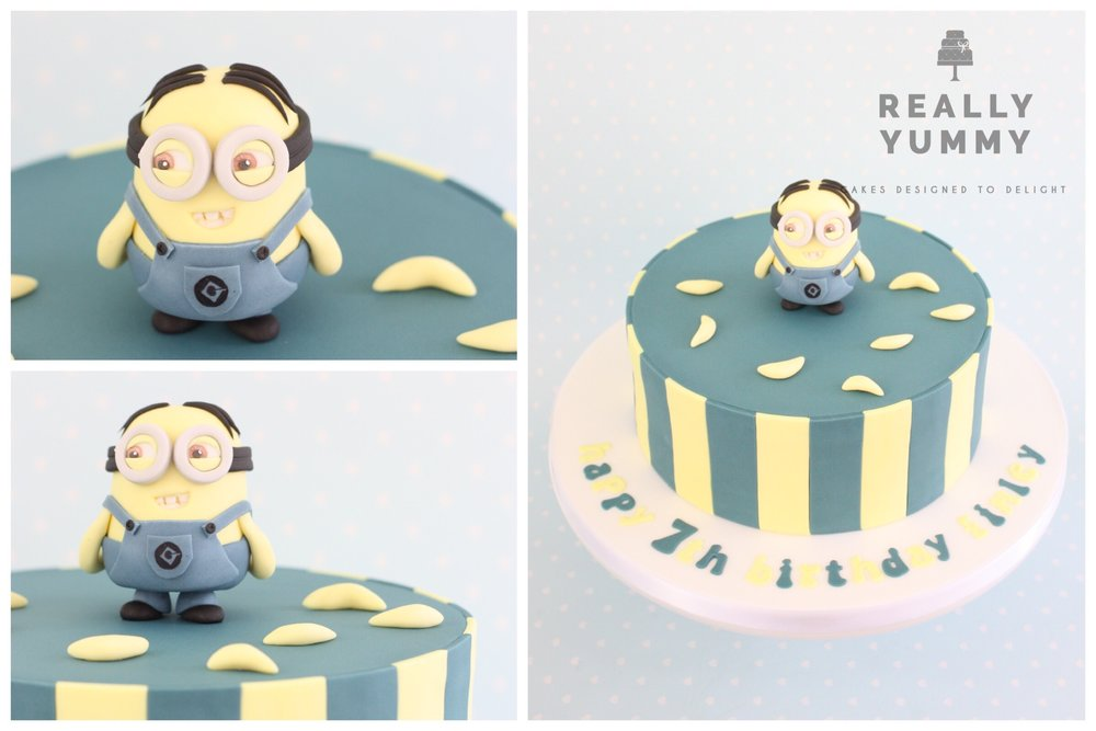 Minion cake, with stripes