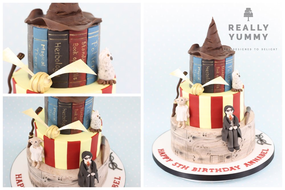 Harry Potter cake with sorting hat, Dobby, Golden Snitch and Hedwig