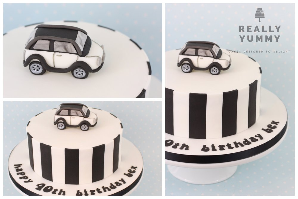 Mini car cake, with monochrome stripes