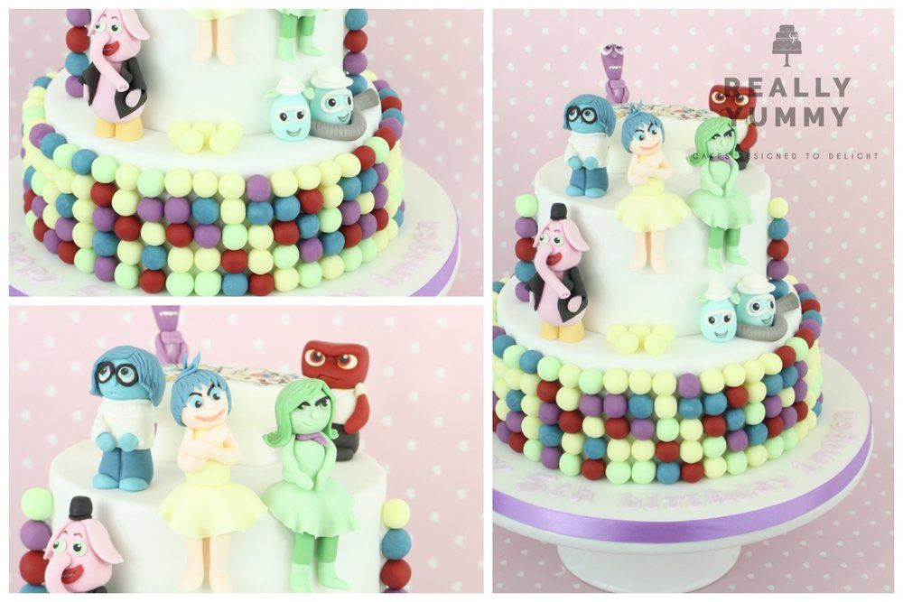Inside Out cake with Anger, Joy, Fear, Sadness and Bing Bong