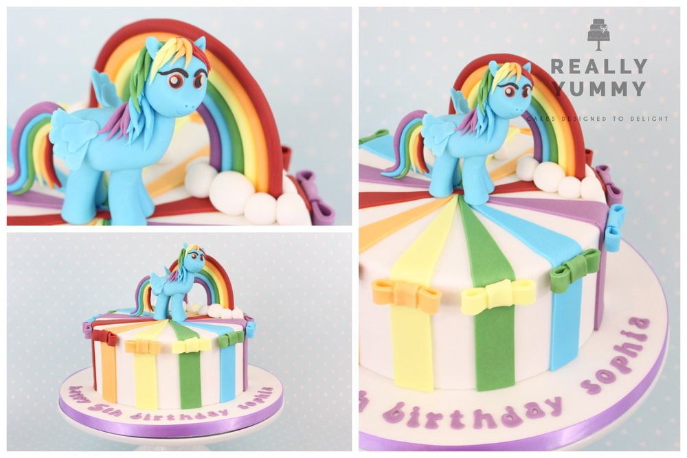 My Little Pony Rainbow Dash cake, with bows