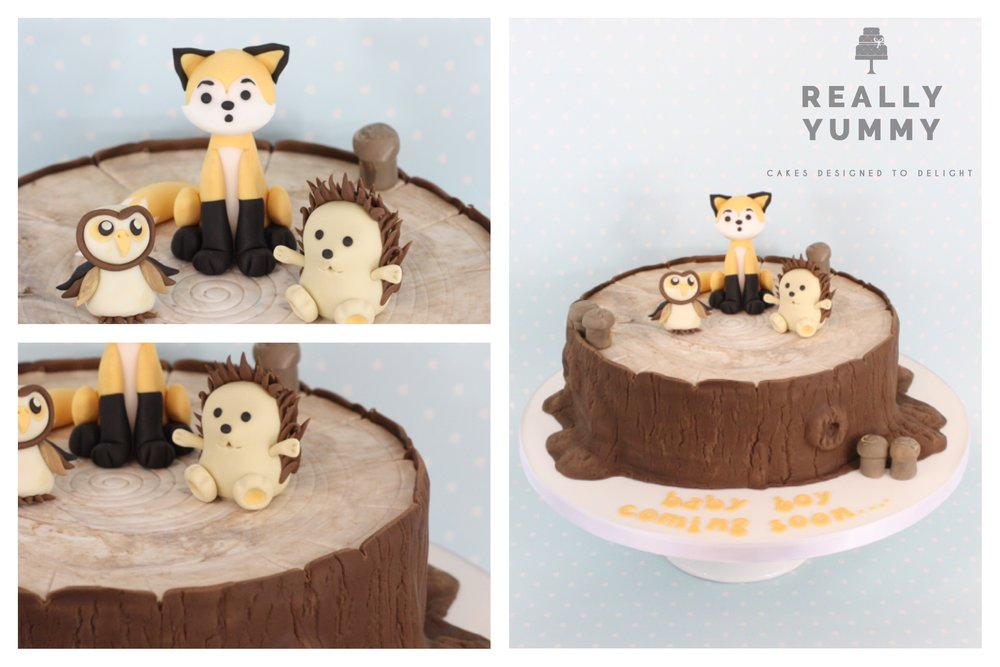 Cute woodland animals cake