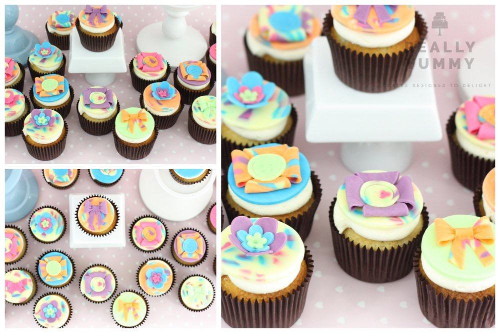Colourful leopard print cupcakes