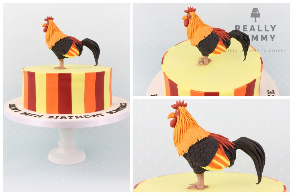Kathryn N. - Having given Really Yummy a vague idea of a cockerel for my Dad (84) with poor eyesight, I was not prepared for the wonderful interpretation. A proud cockerel standing in 3D on top of a striped cake. My Dad was thrilled and refused to cut the cake for days so all could admire the creation. Thank you for making his day!
