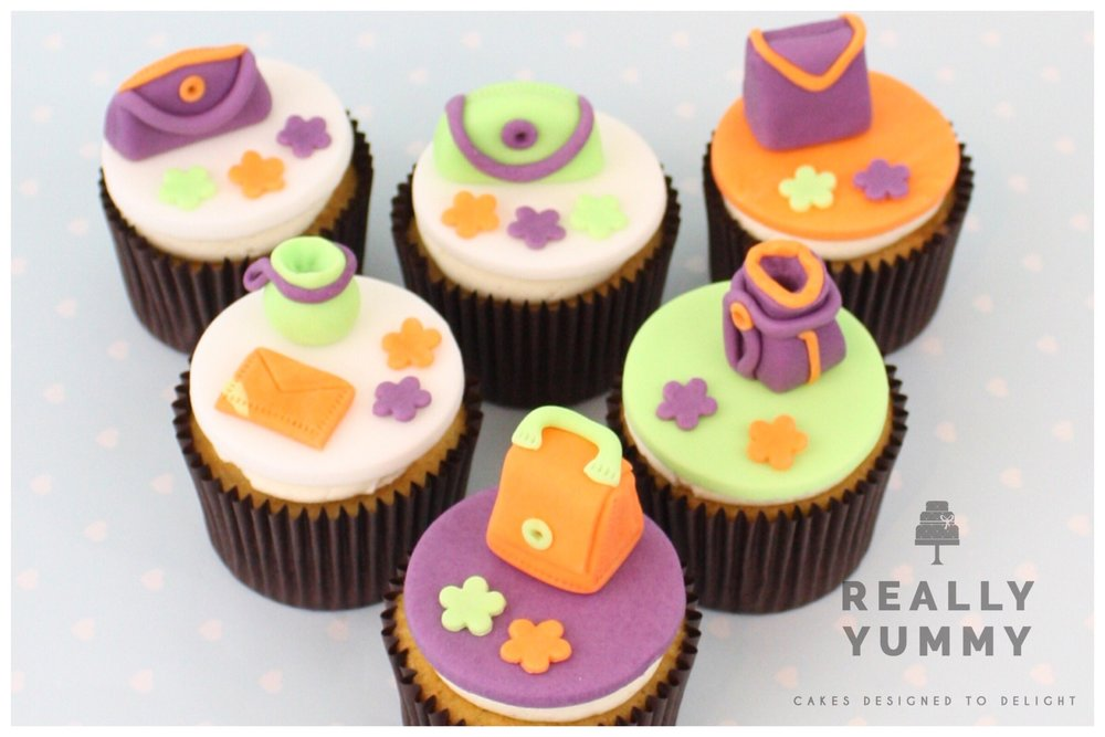 Handbag cupcakes, in purple, lime and orange