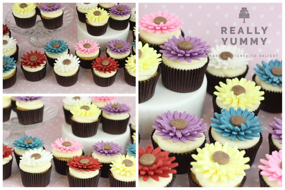 Colourful flower cupcakes