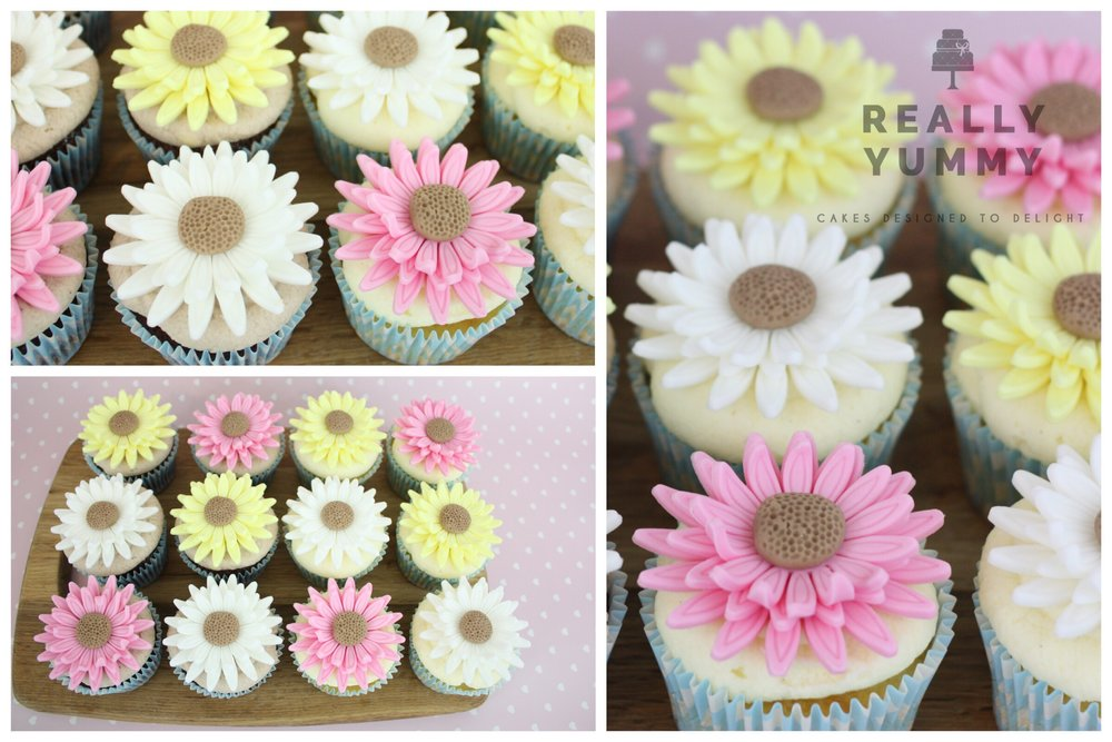 Pink, yellow and white flower cupcakes