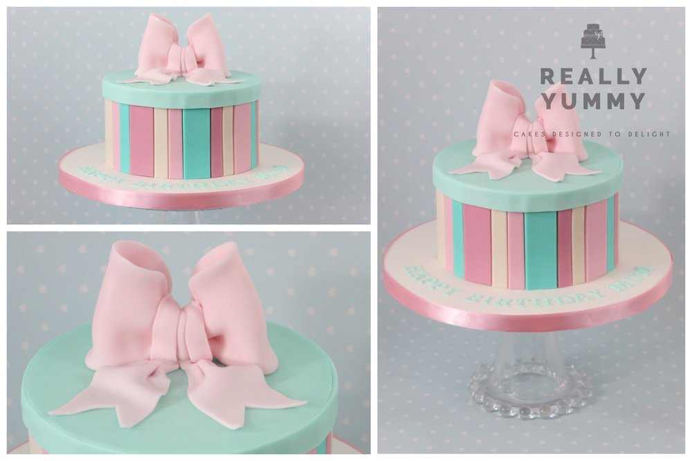 Pastel stripes, with a bow
