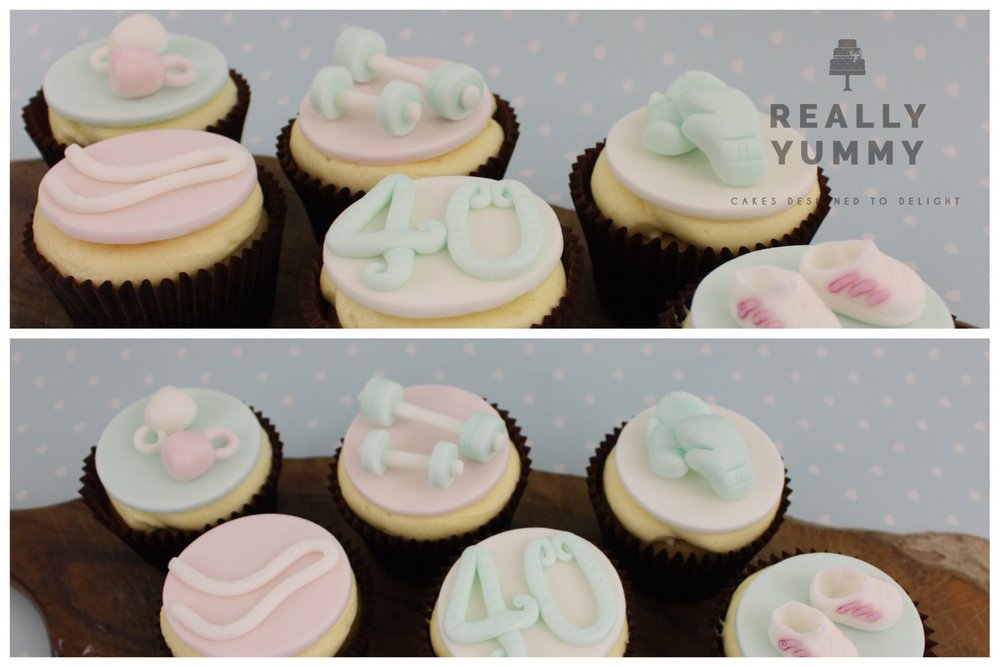 Fitness cupcakes, in pastel colours