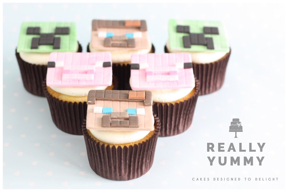 Minecraft cupcakes - Steve, Creeper and Pig