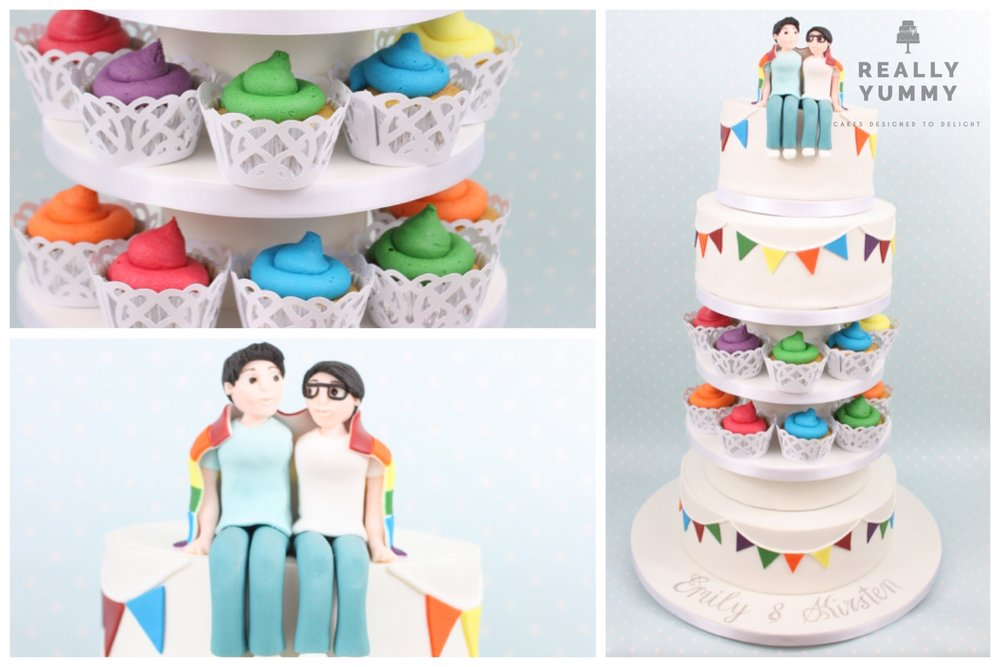 Rainbow-themed wedding cake, with multi-coloured cupcakes