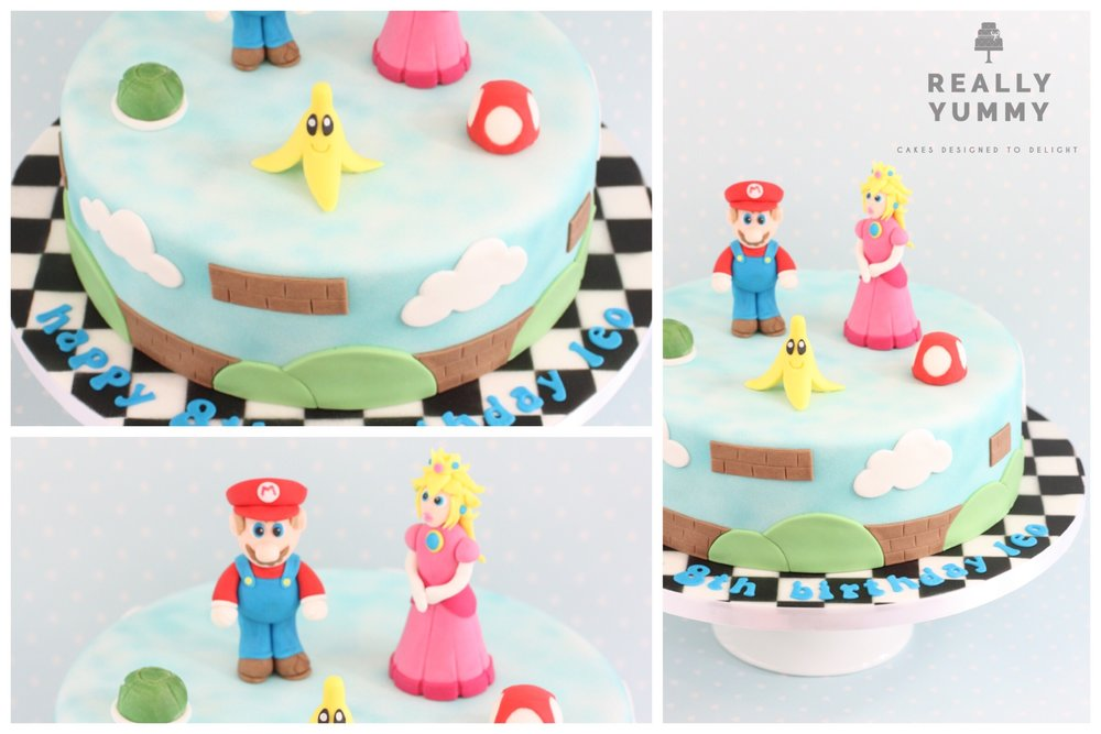 Mario Kart cake, with Mario and Princess Peach