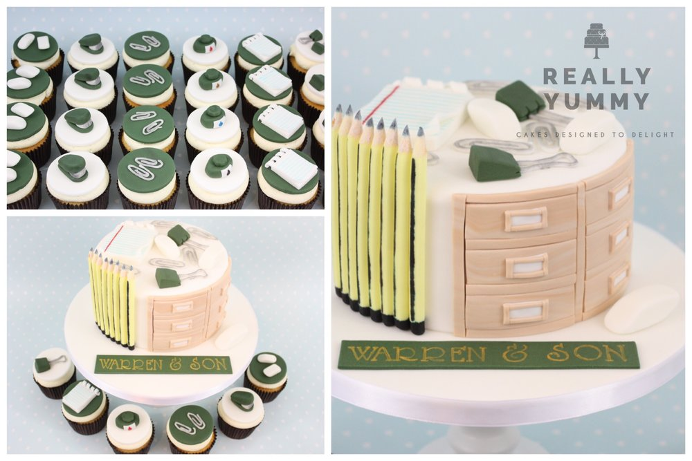 Stationery cake and cupcakes