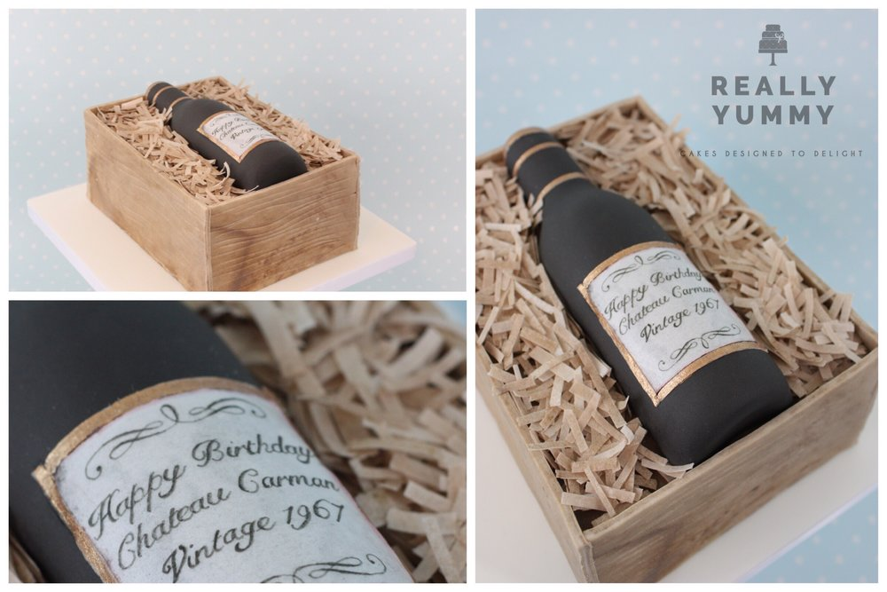 Wine bottle in crate cake