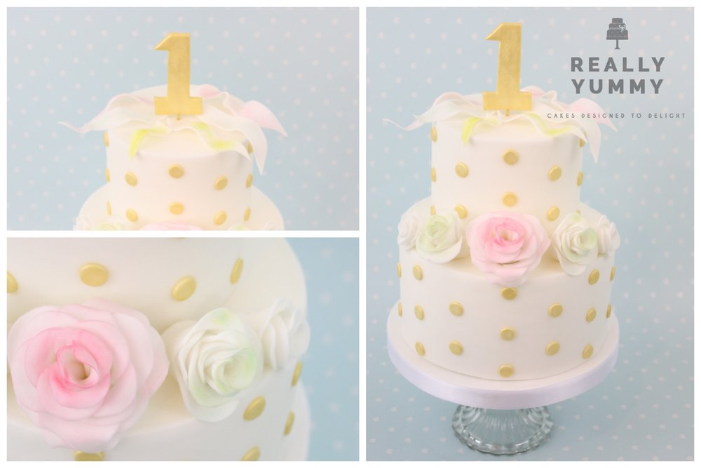 Pretty two-tier 1st birthday cake