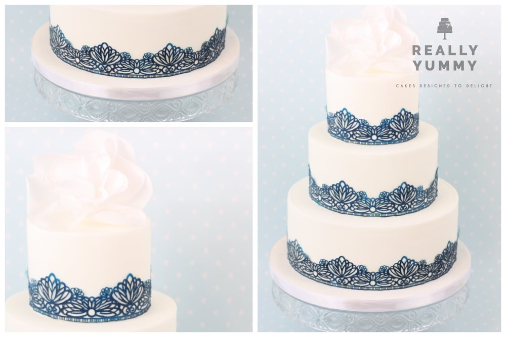 Navy lace three tier