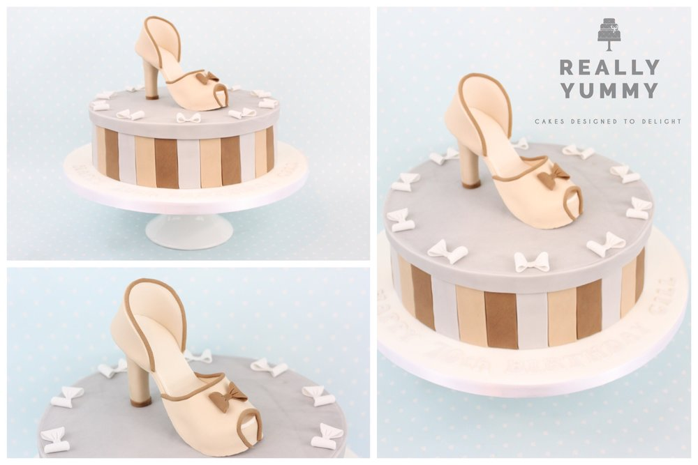 Shoe cake, with bows, in browns and silver greys