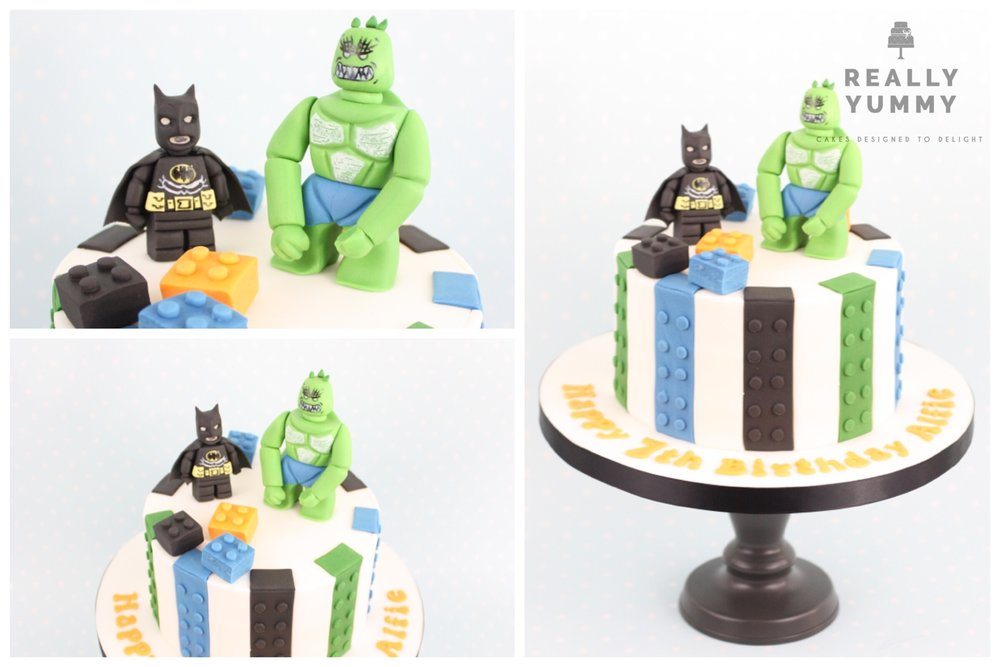 Lego cake, with Batman and Killer Croc