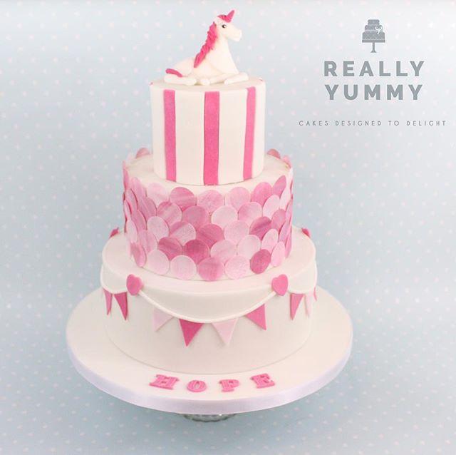 Hope's Christening cake, in pink, with a gorgeous unicorn topper 💕 #reallyyummycakes #cakedesigner #bespokecakes #hampshirecakes #winchestercakes #cakes #winchester #hampshire #designercakes #designinspiration #designprocess #unicorn #christening