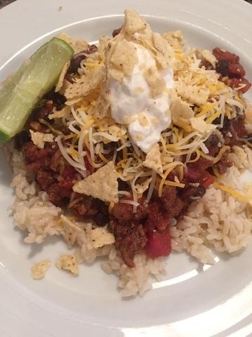 Chili and Rice Bowls